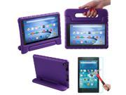 HDE Kindle Fire HD 8 2015 Kids Shock Proof Case Tempered Glass Screen Protector Purple