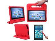 HDE Kindle Fire HD 8 2015 Kids Shock Proof Case Tempered Glass Screen Protector Red