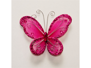3 Inch Sheer Nylon Crystal Wire Butterfly w/ Rhinestones 12 Pieces wedding decorations - Color: Fuchsia