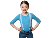 "Solid Color Kids Elastic Suspenders - Light Blue (22"")"