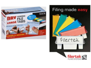 Filertek Hanging File Dry-Erase Reusable Tabs for Hanging Files with Dry-Erase Pen, Box of 50 Tabs, Assorted Colors (FT-1150C)