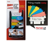 Filertek Hanging File Dry-Erase Reusable Tabs for Hanging Files with Dry-Erase Pen, 12 Tabs, Assorted Colors (FT-B12C)
