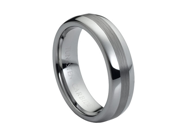 Tungsten Carbide Polished Shiny with Brushed Center 6mm Wedding Band Ring