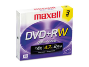 DVD+RW Discs, 4.7GB, 4x, w/Jewel Cases, Silver, 3/Pack