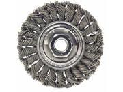"""Dualife Sta-4 Twist Knot Wire Wheel, 4"""""""" Dia, Stainless Steel, .014 Wire"""" 9SIV0B65BY7806"""