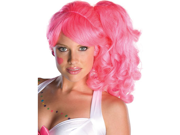 Womens Hot Pink 50s Candy Girl Side Ponytail Wig