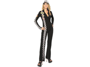 Adult's Medium Size 8-10 Sexy Black Racer Sexy Race Car Driver Jumpsuit Costume