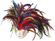 Deluxe Paper Mache Feather Mardi Gras Carnival Costume Mask 9SIA1W20ZX1617