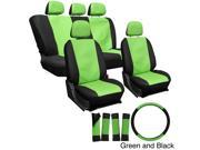 Oxgord PU Synthetic Leather 17-Piece Seat Cover Set - Green