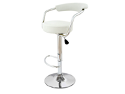 Set of 2 Zool Contemporary Adjustable Faux Leather Barstool - Vanilla White