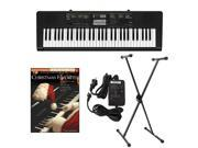 Casio CTK2400 61-Key Keyboard Deluxe Package with Casio Keyboard Adapter, Keyboard Stand & Christmas Favorites Easy Piano Play Along Book