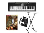 Casio CTK2400 61-Key Keyboard Deluxe Package with Casio Keyboard Adapter, Keyboard Stand & Christmas Carols Easy Piano Play Along Book