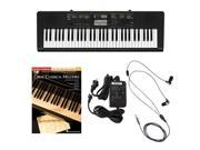Casio CTK2400 61-Key Keyboard Deluxe Package with Casio Keyboard Adapter, Ear Buds & Great Classical Melodies Easy Piano Play Along Book