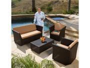 Christopher Knight Home 4-Piece Brown PE Wicker Patio Sofa Set