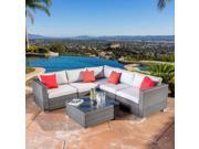 Santa Rosa Grey PE Wicker Outdoor 6pc Sectional Sofa Set