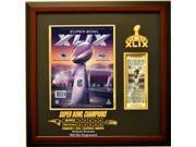 New England Patriots Super Bowl 49 Ticket & Program Frame, Mahogany