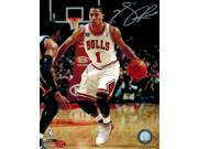 Derrick Rose Signed Bulls White Jersey Dribbling 8x10 Photo (Silver) 9SIA00Y51T4587