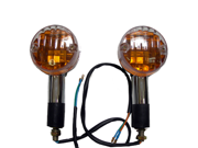 Chrome Amber Round Motorcycle Turn Signals Pair for Suzuki GT 380, GT 550