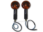 "3"" Black Round Amber Motorcycle Turn Signal Indicator Pair for Suzuki GT 380, GT 550"