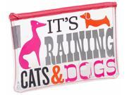 Jonathan Adler It's Raining Cats & Dogs Clear Accessory Pouch