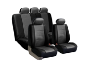 FH-PU001115 FH Group PU Leather Complete Set Car Seat Covers for 2 Buckets and Solid Bench Gray / Black