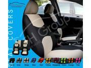 Cloth Seat Covers w. 2 Headrests and Solid Bench Beige & Black