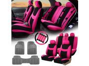 Pink Black Car Seat Covers for Auto w/Steering Cover/Belt Pads/Floor Mat