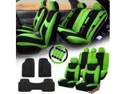 Green Black Car Seat Covers for Auto w/Steering Cover/Belt Pads/Floor Mats