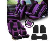 Purple Black Car Seat Covers for Auto w/Steering Cover/Belt Pads/Floor Mats