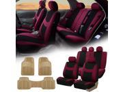 Burgundy Black Car Seat Covers Full Set for Auto w/Headrests Rubber Floor Mats