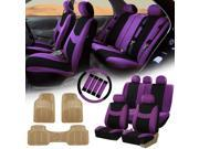 Purple Black Car Seat Covers for Auto w/Steering Cover/Belt Pads/Floor Mat