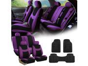 Purple Black Car Seat Covers Full Set for Auto w/4 Headrests, Rubber Floor Mats