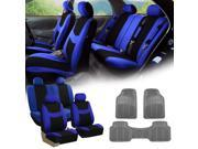 Blue Black Car Seat Covers Full Set for Auto w/4 Headrests Rubber Floor Mat