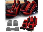 Red Black Car Seat Covers Full Set for Auto w/5 Headrests Rubber Floor Mat