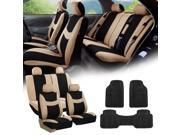 Beige Black Car Seat Covers Full Set for Auto w/4 Headrests, Rubber Floor Mats
