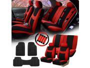 Red Black Car Seat Covers for Auto w/Steering Cover/Belt Pads/Floor Mats