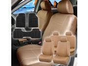 Faux Leather Car Seat For Auto Car SUV with Floor Mat 4Headrests Tan Beige