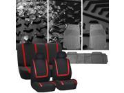 Car Seat Covers Red Black Full Set for Auto w/Heavy Duty Floor Mats 2 Headrest