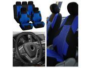 FH Group Travel Master Seat Covers for Car Blue Black with Steeing Wheel Cover