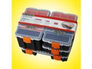 4-in-1 Plastic Tool Removable Compartment Professional Storage Organizer Box Set, Black/Orange with Dividers