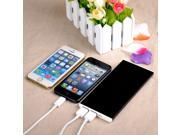 Black Aluminum 12000 mAh Power Bank 2 USB Ports Portable Rechargeable Charger High Capacity External Battery Pack for iPhone 5S 5C 5G 5 iPad 3 2 1 iPod Touch 4 5 6 Nano 7 etc.