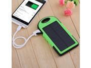 Green 5000mAh Dual-USB Port Solar Panel Charger Waterproof Shockproof Dustproof Power Bank Battery Charger Backup for iPhone 6 6 Plus 5S 5C 5 iPad Air 5 4 3 iPad Mini GPS Camera etc.