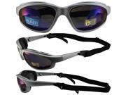 Pacific Coast Sunglasses Freedom Padded Sunglasses Silver Frames Blue Flash Mirror Lenses They Float!!! 9SIA2073TU0463