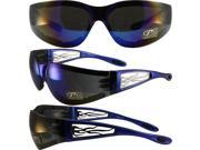 Pacific Coast Sunglasses Heat Padded Safety Sunglasses Gloss Blue Frames with Silver Metal Flame Cut-Out Design Blue Flash Mirror Lenses 9SIA2073TU0959