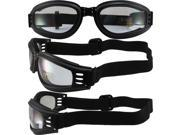 Kick-Start Nomad Padded Motorcycle Goggles Matte Black Frames Clear Lenses Made By Pacific Coast Sunglasses 9SIA2073TU1259