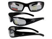 MotoFrames MF Chill Padded Motorcycle Sunglasses Gloss Black Frames Clear Lenses