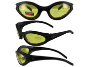 Birdz Raven Motorcycle Glasses with Yellow Shatterproof Anti-Fog Polycarbonate Lenses and Wind Blocking Foam