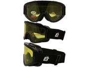 Birdz Vulture Black Frame Motorcycle Goggles with Yellow Bifocal Shatterproof Anti Fog Polycarbonate Lenses and Vented Open Cell Foam