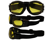 Birdz Eagle Black Frame Motorcycle Goggles with Yellow