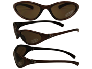 Birdz Hen Slim Line Riding Sunglasses with Bronze Frame and Brown Lenses